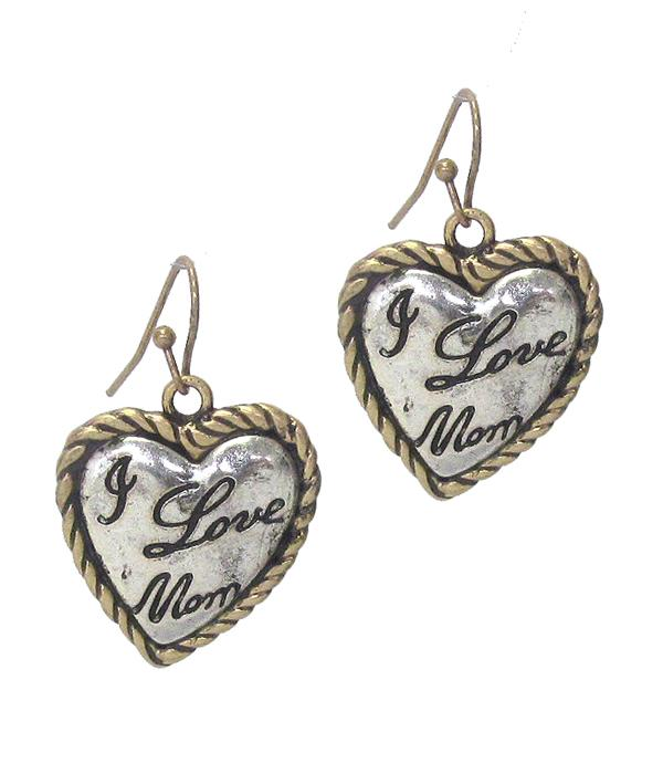 I Love Mom Vintage Metal Silver Inside Heart Earring