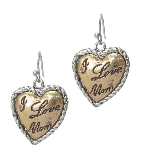 I Love Mom Vintage Metal Heart Earring - The House of Awareness