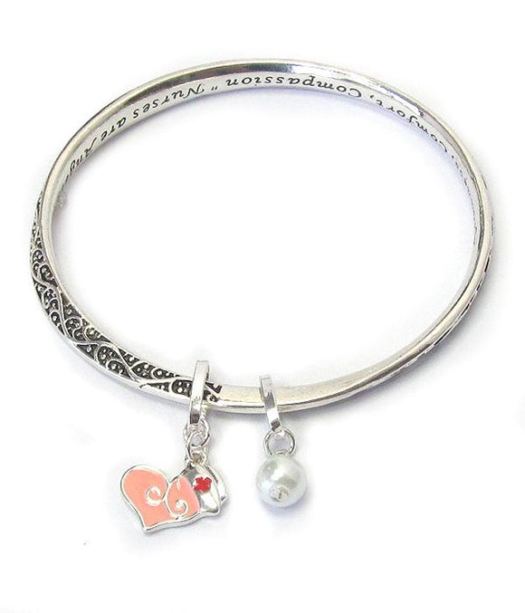 Nurse Theme Inspiration Message Twist Bangle Bracelet