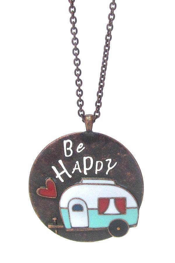 "Happy Camper ""Be Happy"" Theme Pendant Long Necklace"