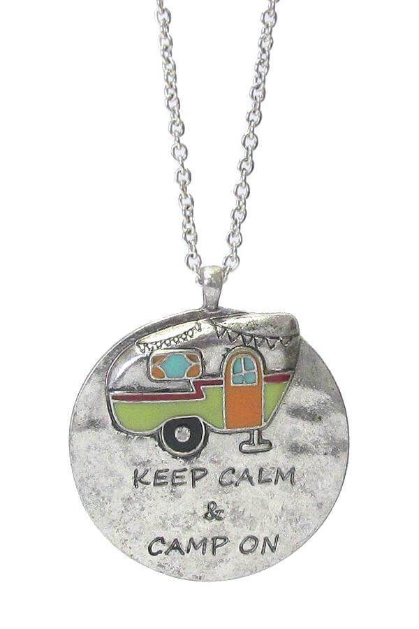 Happy Camper Theme Pendant Long Necklace