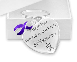Violet Awareness Ribbon Key Chain for many Causes - The House of Awareness