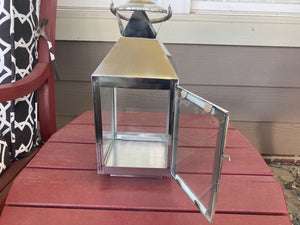 Set of 2 August Small Steel Candle Lanterns
