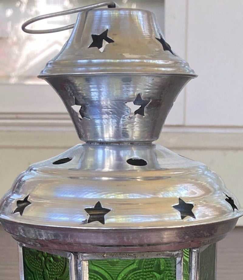 Green Glass and Silver with Stars Lantern