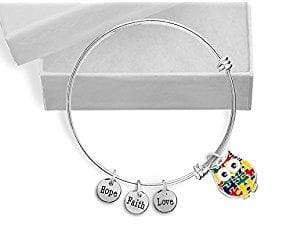 Autism Owl Puzzle Piece Stainless Steel Retractable Charm Bracelet