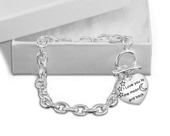 Chunky I Love You To The Moon and Back Charm Bracelet for all Causes - The House of Awareness