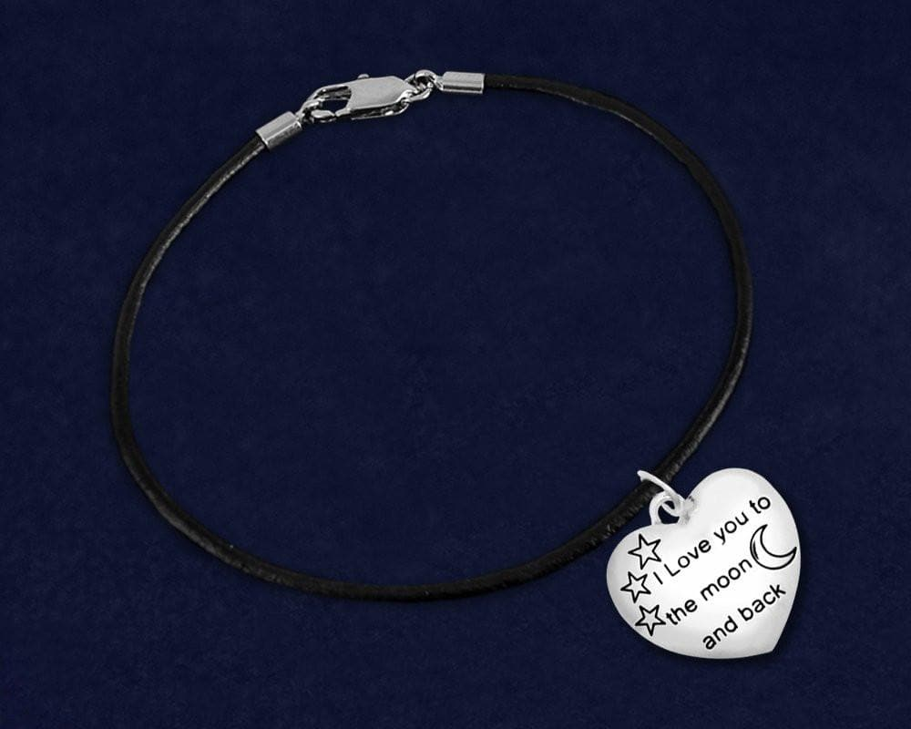 """I Love You To The Moon And Back"" Black Cord Bracelet - The House of Awareness"