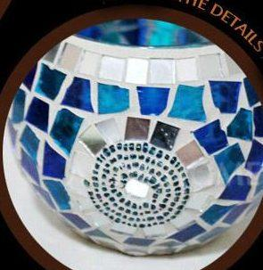 Mosaic Glass Blue Circle Candle Holder - The House of Awareness