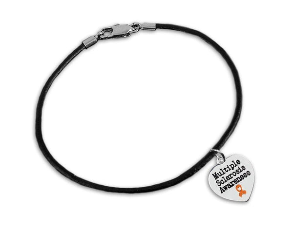 Multiple Sclerosis Awareness Heart Leather Cord Bracelets - The House of Awareness