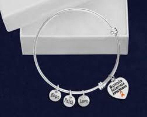 Multiple Sclerosis Heart Retractable Charm Bracelet - The House of Awareness