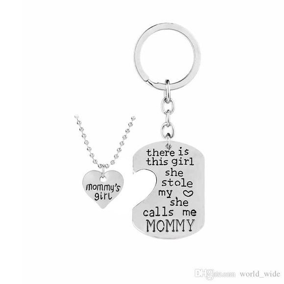 Mommy and Girl Necklace and Key Charm Set - She Calls Me Mommy