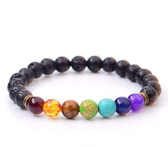 Black Lava Natural Stone 7 Reiki Chakra Beads Bracelet - The House of Awareness