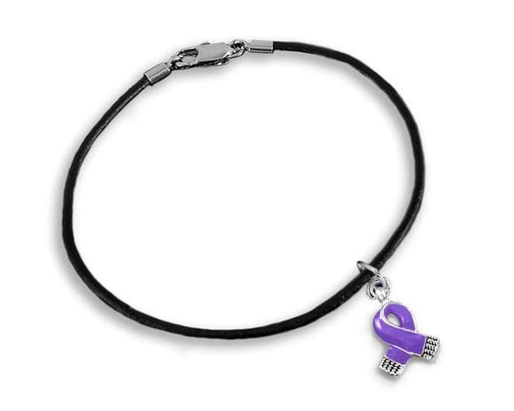 Small Purple Ribbon Charm on Black Cord Bracelet for Causes - The House of Awareness
