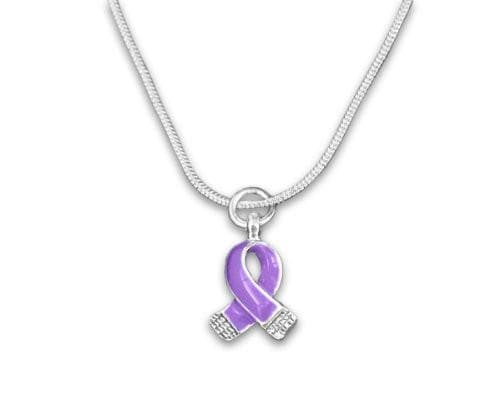 Purple Ribbon Necklace- Silver Trim Purple Ribbon for all Causes - The House of Awareness