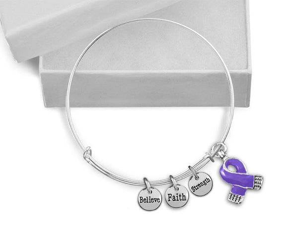 Purple Ribbon Awareness Retractable Charm Bracelet for Causes - The House of Awareness