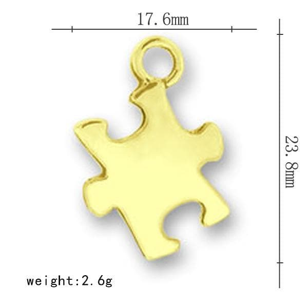 Gold autism puzzle piece jewelry charm - The House of Awareness