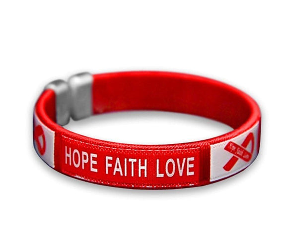 Red Ribbon Fabric Bangle Bracelet - Hope, Faith, Love for Causes - The House of Awareness