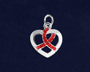 Crystal Red Ribbon Heart Charm for Causes - The House of Awareness