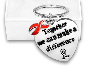Red Ribbon Awareness Key Chain in a Gift Box - The House of Awareness