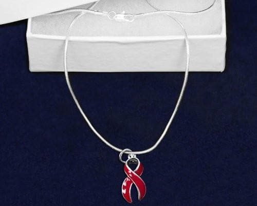 "Red Awareness Causes Red Ribbon 16"" Necklace Large Ribbon - The House of Awareness"