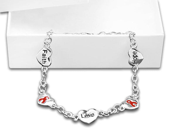 Red Ribbon Bracelet-Hope, Faith, Love for Causes - The House of Awareness