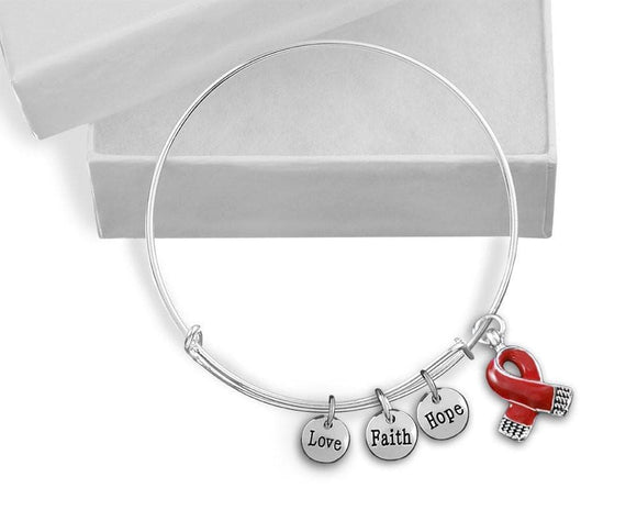 Red Ribbon Awareness Retractable Charm Bracelet for Causes - The House of Awareness