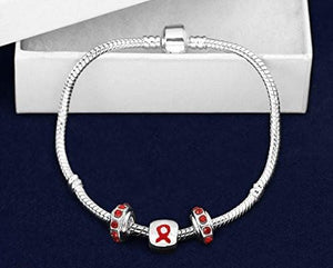 Red Ribbon Chunky Charm Awareness Bracelet - The House of Awareness