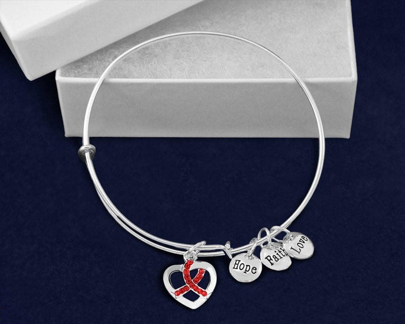 Red Crystal Heart Ribbon Retractable Charm Bracelet for Causes - The House of Awareness