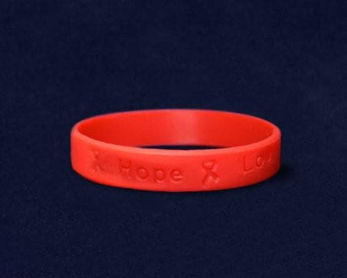 Red Adult Silicone Bracelet for Heart Disease Awareness - The House of Awareness