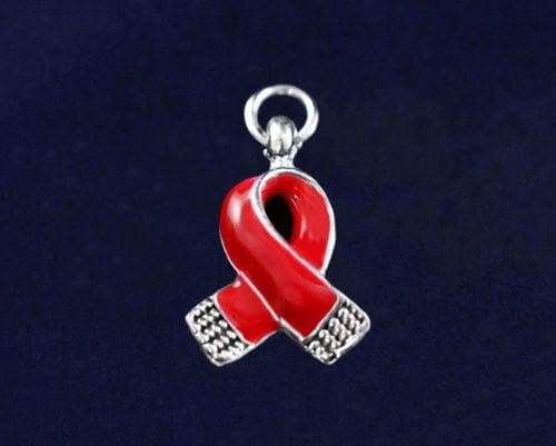 Heart Disease Awareness Red Small Ribbon Charm - The House of Awareness