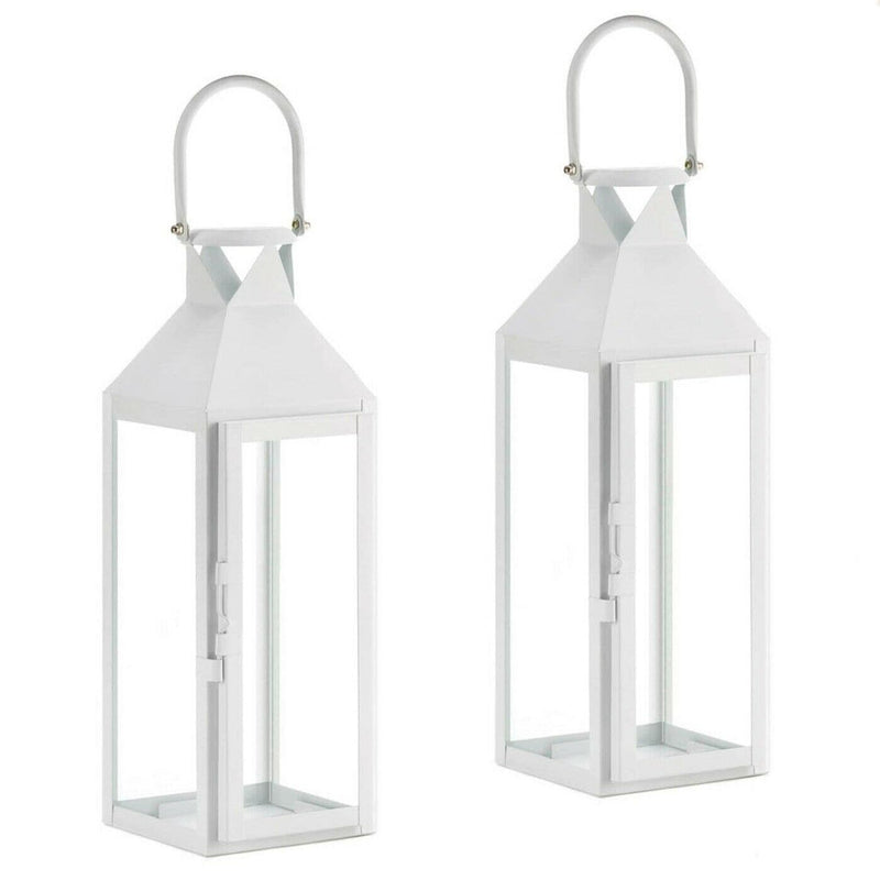White Tall Iron Candle Lantern