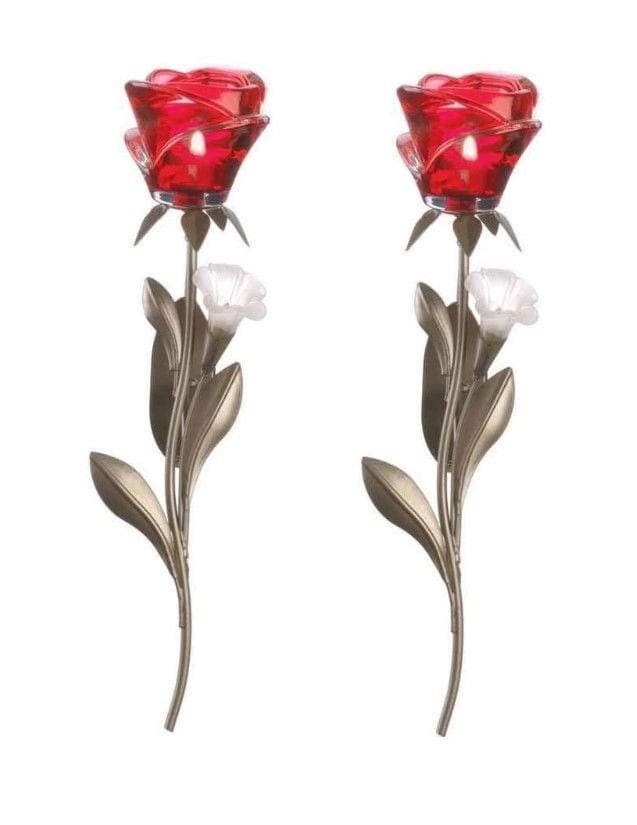 Set of 2 Single Red Rose Wall Sconces - The House of Awareness