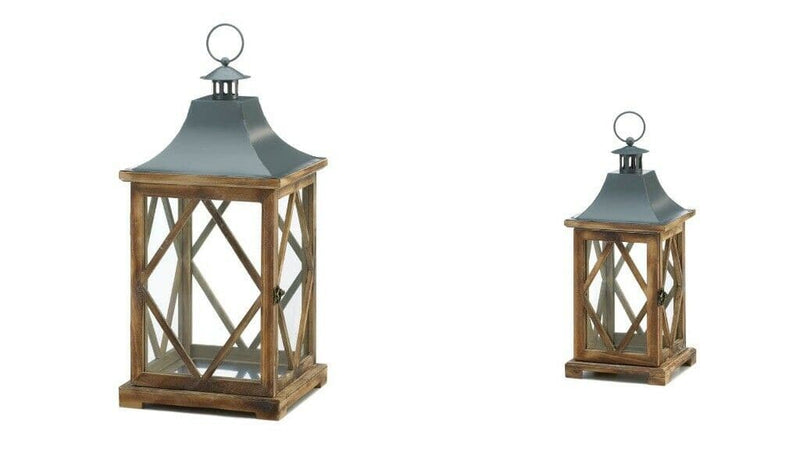 One Small and One Large Diamond Motif Wooden Lantern - The House of Awareness