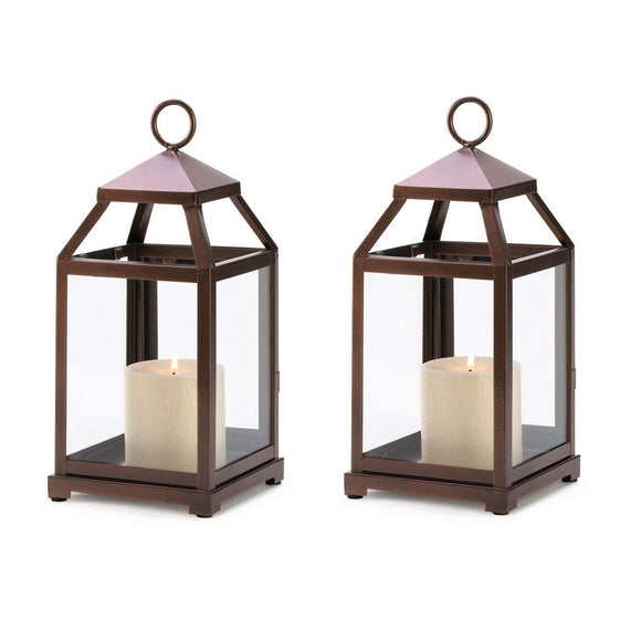 Set of 2 Glass Paneled Hurricane Lanterns