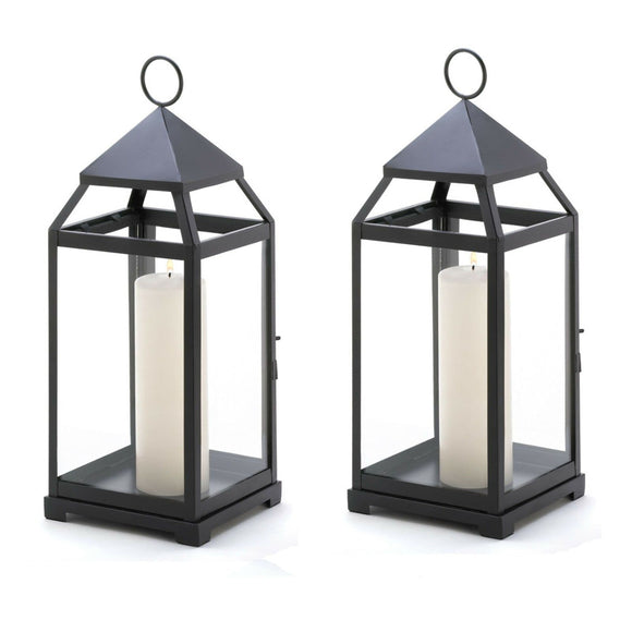 Set of 2 Large Black Contemporary Candle Lanterns