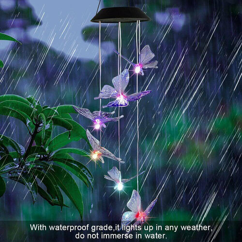 Color Changing Solar Six Purple Butterfly Wind Chimes