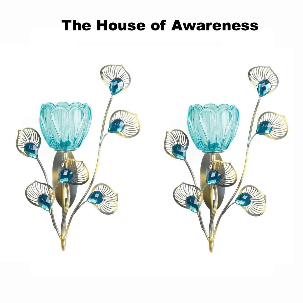 2 Peacock Blossom Single Sconces - The House of Awareness
