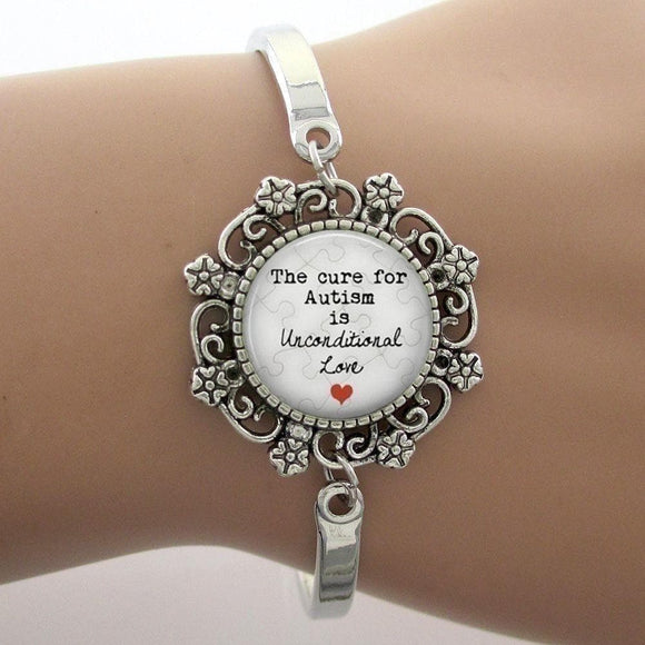 The Cure for Autism is Unconditional Love Glass Dome Lace Charm Bracelet , Women - Jewelry - Bracelets - The House of Awareness, The House of Awareness  - 1