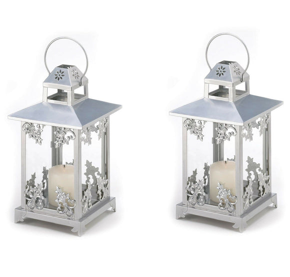 Set of 2 of Frosted Vines Candle Lanterns