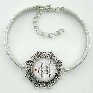 The Cure for Autism is Unconditional Love Glass Dome Lace Charm Bracelet - The House of Awareness