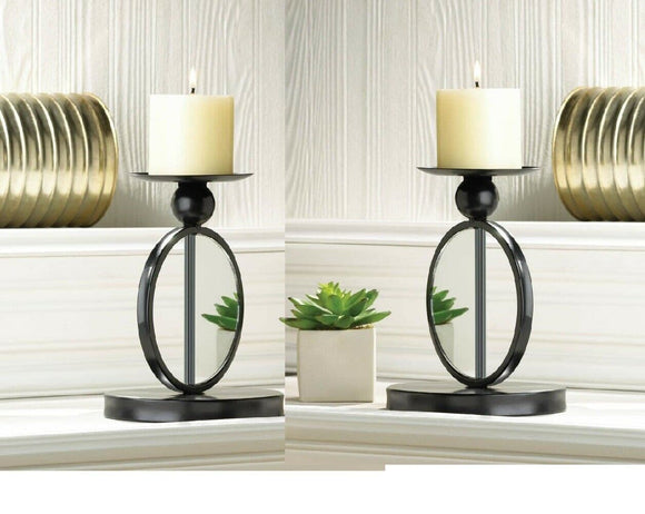 Set of 2 Single Mirrored Candleholders