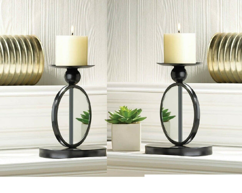 Set of 2 Single Mirrored Candleholders - The House of Awareness