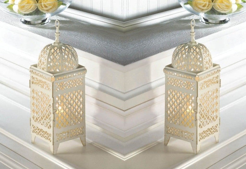 Set of 2 Intricate Cutout Design Weathered Lanterns - The House of Awareness