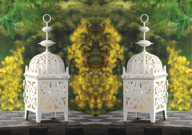 Set of 2 White Filigree Candle Lanterns - The House of Awareness