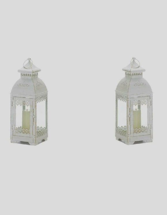 Set of 2 Distressed Victorian Style Lanterns