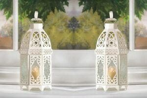 Set of 2 White Moroccan Style Lanterns with 2 White Led Tea Lights with Timer - The House of Awareness
