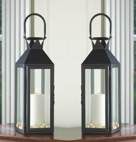 Set of 2 Tall Black Candle Lanterns - The House of Awareness