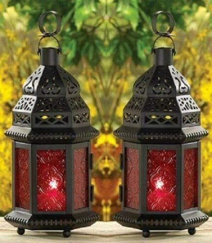 Set of 2 Red Glass Moroccan Lanterns - The House of Awareness