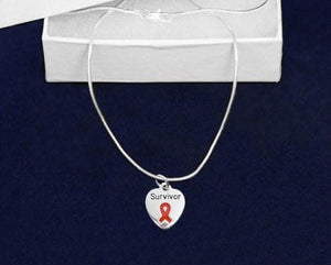 Red Ribbon Necklace with Survivor Charm for Awareness Causes - The House of Awareness
