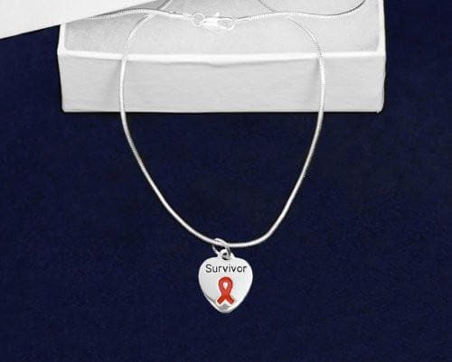 Red Ribbon Necklace with Survivor Charm for Awareness Causes , Necklaces & Pendants - The House of Awareness, The House of Awareness  - 1